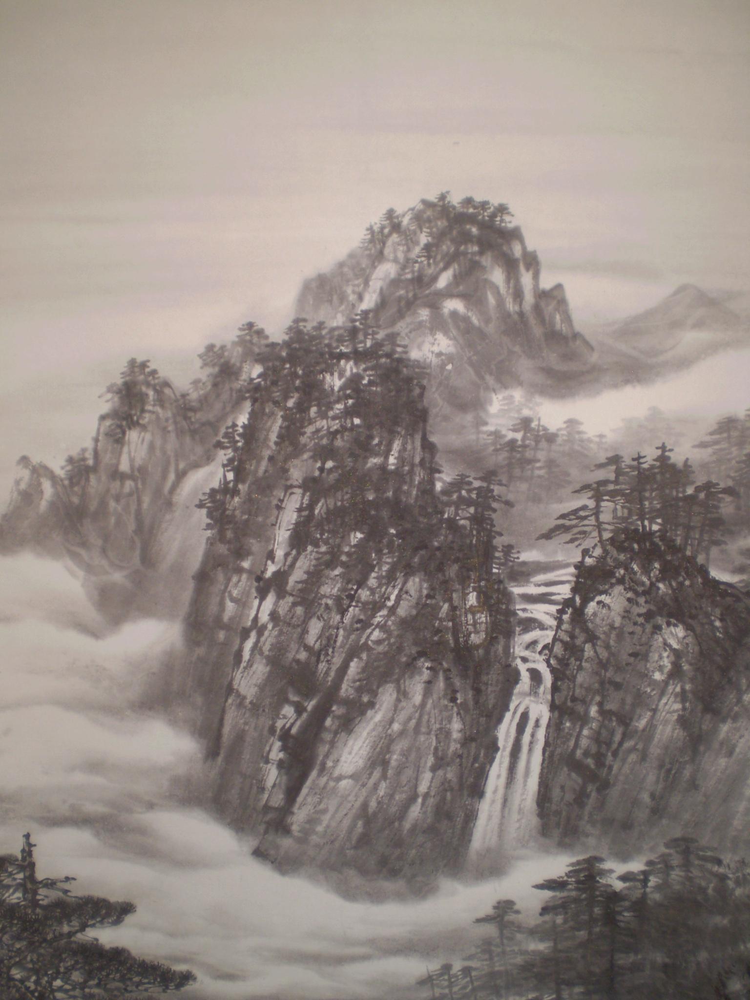 作 品 名 黄 山 水 墨 山 水 黄 山(1990年世界遺産登録) 黄山()、中国安徽省景勝地。 伝説仙境彷彿独特景観、古「天下名勝、 黄山集」言、数多文人訪。 黄山立並岩石古生代出来、 長年月経浸食、 現在様断崖絶壁景観。 海抜1000m以上峰多数、 特三主峰呼蓮花峰、光明頂、天都峰、 他69峰。 、黄山奇松、怪石、雲海、温泉、 「黄